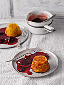Sweet Döppekooche (German potato cake) with red wine plums from the Eifel region