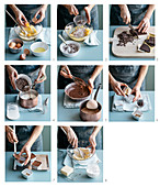 Chocolate pudding with walnut liqueur being made