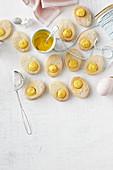 Passionsfruit shortbread eggs