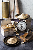 An arrangement of various flours