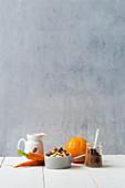 Zutaten für Möhren-Orangen-Rolle (Low Carb)