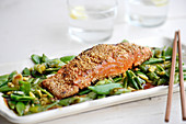Sesame seared salmon with miso glaze and sugar peas