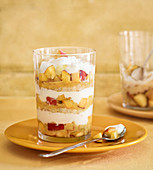 Peach trifle with apricot mustard