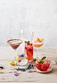 Aperol sorbet fizz, Jingle juice, Chocolate and baileys martini, Elderflower and gin soda, Peach melba punch