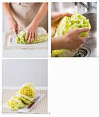 Preparing napa cabbage