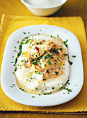 Polenta bianca alla vicentina (white polenta with codfish in the style of Vicenza, Italy)