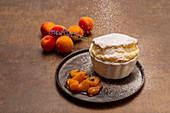 Quark souffle with roasted lavender apricots