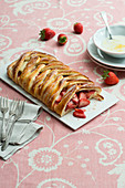 Strawberry plait with lemon cream cheese