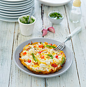 Frittata with pepper and sheep's cheese