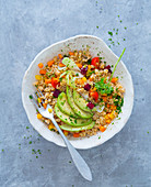 Grain and vegetable salad with avocado