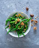 Green bean salad with walnuts and sweetcorn