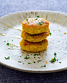 Millet fritters, stacked