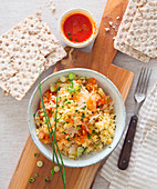 Millet salad with sauerkraut and tomatoes