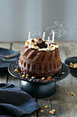Banana cake with blown out candles
