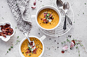 Sweet potato soup with crispy bacon and cottage cheese