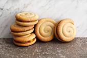 Spiced shortbread spiral sandwich biscuits