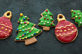 Colourful Christmas tree bauble cookies