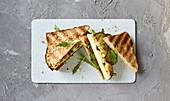 Aubergine and halloumi sandwiches