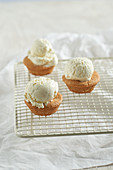 Mini almond muffins with vanilla ice cream