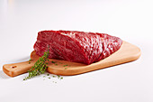 A thick bow of beef, raw