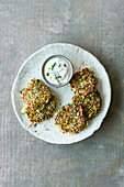 Courgette fritters with sour cream