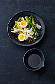 Lentil and asparagus bowl with egg