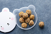 Apricot balls with sweet potatoes and chia seeds