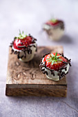 Strawberries with chocolate coating and chocolate sprinkles