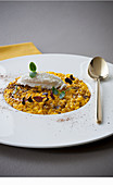 Saffron risotto with liquorice powder and stockfish cream