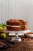 Apple and almond cake with apple and mascarpone cream