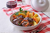 Boeuf bourguignon with carrots and potatoes