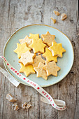 Shortbread biscuits with candied ginger and passion fruit glaze for Christmas