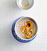 Chai porridge with caramelised apricots and nectarines