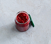 Raspberry and chia jam with maple syrup