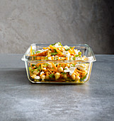 Quick carrot and chicken pea salad with sheep's cheese to take away