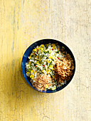 Exotic rice salad with mango and lime