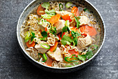 Chinese chicken soup with mie noodles