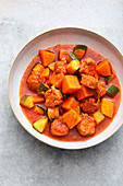 Sweet potato stew with courgette and salsiccia