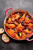 Spanish chicken stew with black olives