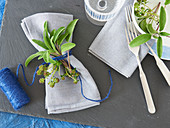 Fresh herb napkin decorations