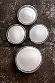Isomaltulose, trehalose, eryhritol stevia (sugar replacements)