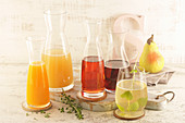 Various juices (pear, currant, grape, apple, orange)