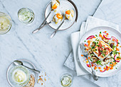 Salad and dessert with white wine