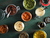 Various sauces in jars