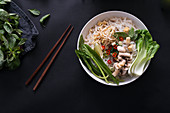 Asia Bowl with noodles, pak choi and mushrooms