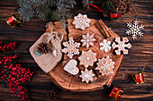 Snowflake shaped Christmas ginger bread