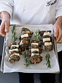 Pork and herb skewers