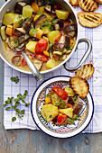 Ciaki Ciuka (Steamed vegetables with basil and oregano, Italy)