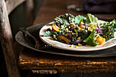 Kale, plum, pistachio salad with onions and ground cherries in rustic farm environment