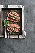 Beef steak with smoked salt and herb pesto